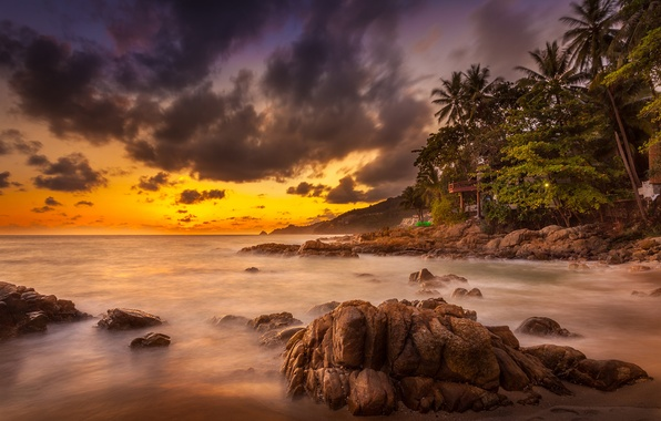 Картинка rock, ocean, sunset, cloud, phuket