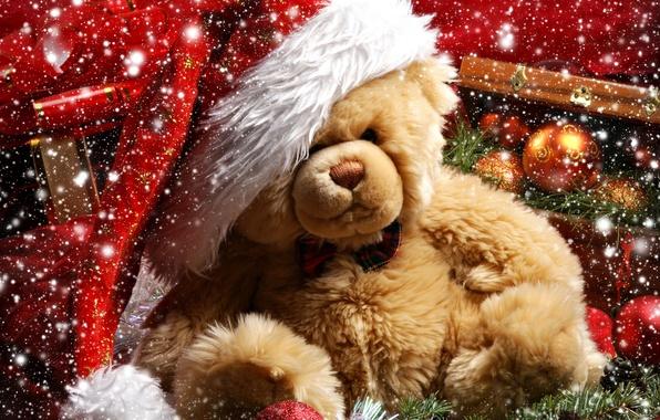 Картинка снег, украшения, праздник, подарок, шары, Рождество, Новый год, медвежонок, шишка, ветка елки, Teddy bear