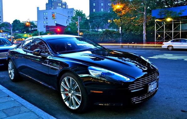 Картинка Aston Martin, улица, блеск, чёрная, V8 vantage