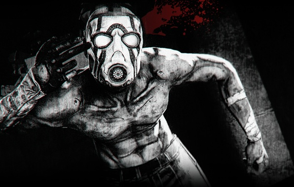 Обои Кровь, Маска, Borderlands, Black And White, Psycho