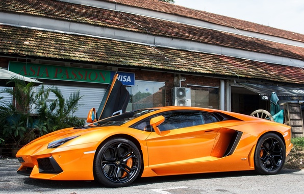 Картинка Lamborghini, Orange, LP700-4, Aventador