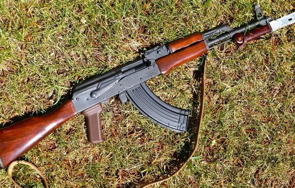 Картинка оружие, автомат, Калашникова, штык-нож, AKM