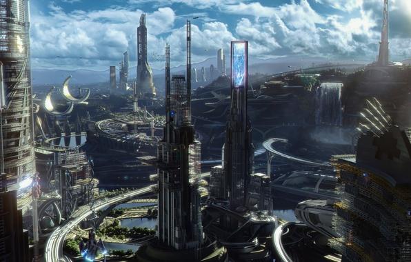 Картинка фантастика, Tomorrowland, Земля будущего, где возможно всё, Представьте мир