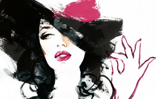 Картинка глаза, девушка, лицо, рука, картина, брюнетка, акварель, губы, образ, шляпка, живопись, обои от lolita777