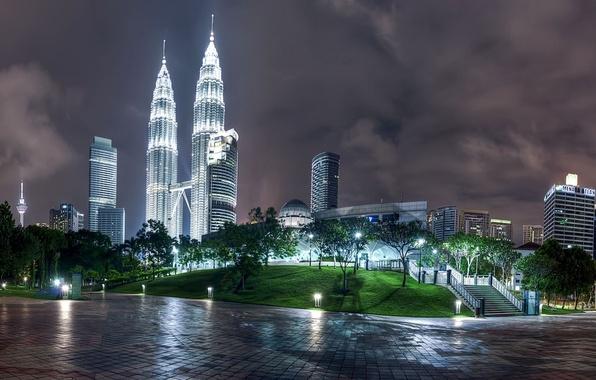 Картинка свет, пейзаж, ночь, город, огни, здания, вечер, высотки, столица, страна, малайзия, государство, куала лумпур