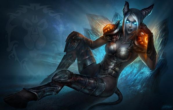 Картинка девушка, магия, кровь, доспехи, хвост, рога, WoW, World of Warcraft, Death Knight, копыта, Draenei