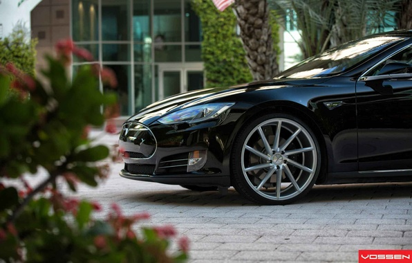 Картинка машина, авто, оптика, перед, auto, бок, Tesla, CVT, Vossen, Model S, Whells