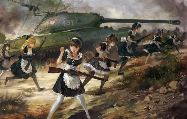 Картинка оружие, девушки, аниме, арт, горничная, upscale, танк ИС-3, hjl, винтовка ППШ-41, карабин Мосина