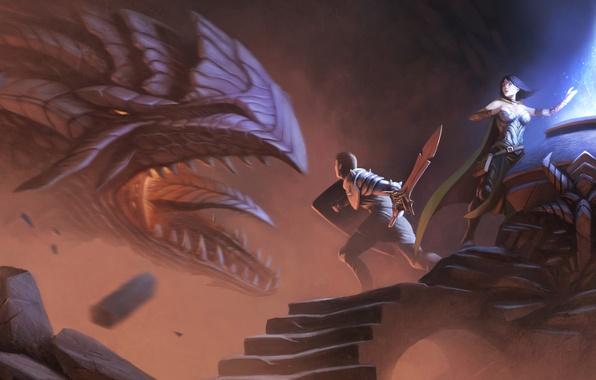 Картинка девушка, дракон, арт, герой, мужчина, рыцарь
