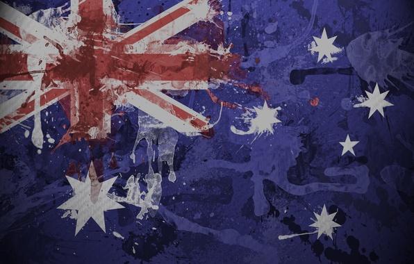 Картинка брызги, краска, текстура, флаг, Австралии
