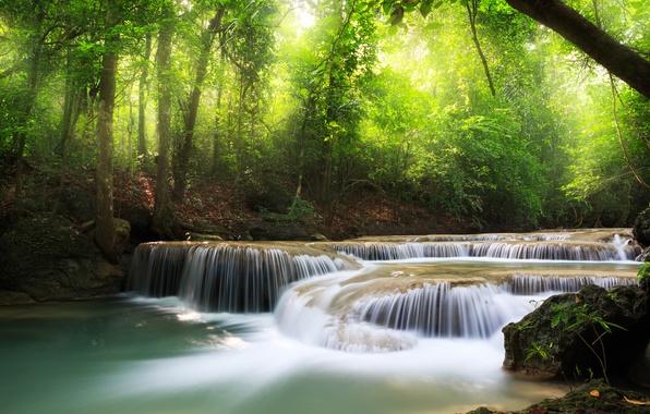 Картинка море, небо, листья, облака, деревья, пейзаж, природа, водопад, озера, красивая, sky, trees, sea, landscape, nature, …