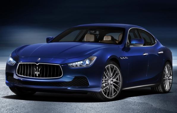 Картинка синий, Maserati, Мазерати, передок, Ghibli, Гибли