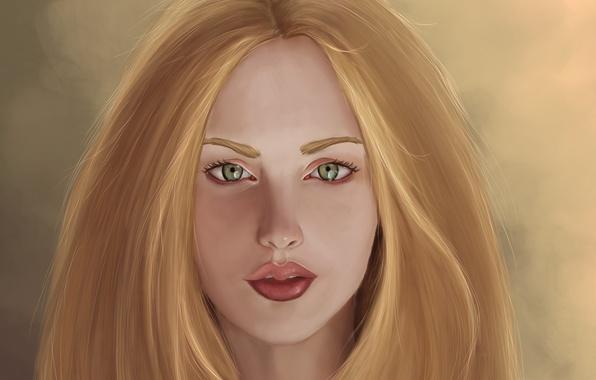 Картинка взгляд, девушка, лицо, фон, волосы, арт, губы, живопись, зеленые глаза