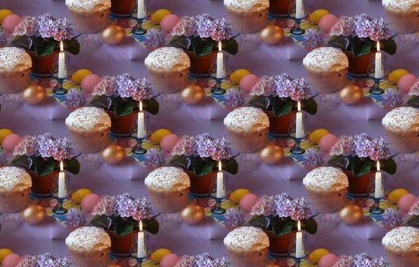 Фото обои цветы, фон, праздник, свеча, текстура, Пасха, кулич, Easter