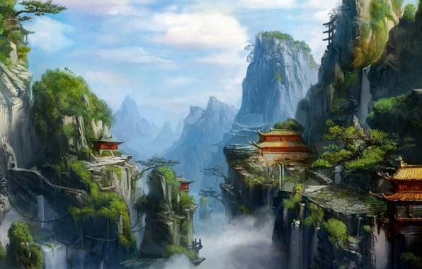 Картинка зелень, горы, город, туман