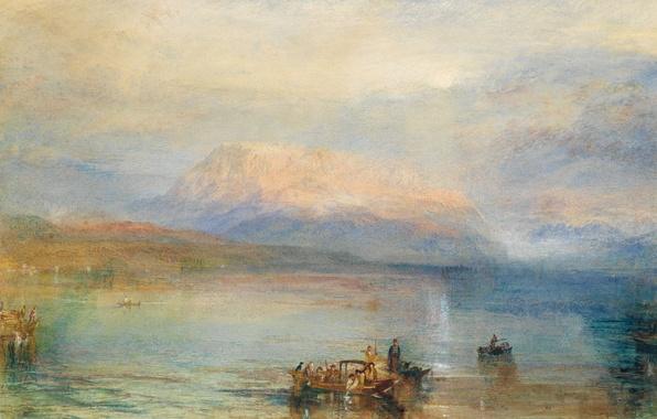 Картинка пейзаж, горы, озеро, люди, лодка, картина, бухта, акварель, залив, Уильям Тёрнер, The Red Rigi