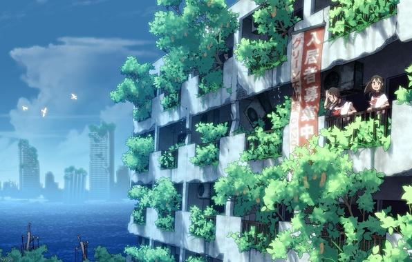 Картинка небо, вода, облака, птицы, девушки, дома, аниме, арт, форма, руины, школьницы, syego