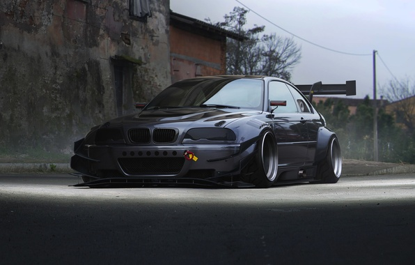 Картинка BMW, Car, Front, E46, Silver, Widebody, Hugo Silva