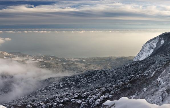 Картинка Небо, Природа, Облака, Горы, Снег, Гора, Высота, Пейзаж, Долина, Склон, Украина, Крым, Ай-Петри