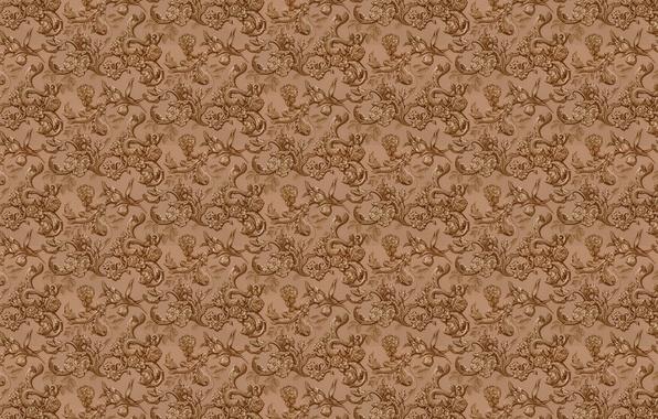 Картинка листья, цветы, фон, стена, обои, рисунок, текстуры, цветочный орнамент