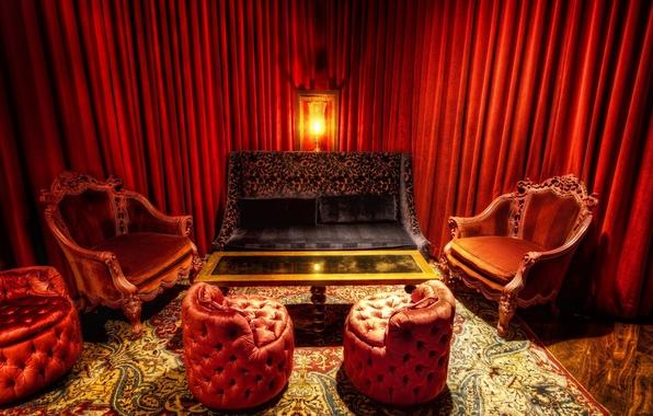 Картинка красный, стол, комната, диван, лампа, кресло