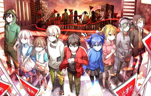 Картинка закат, город, девушки, дома, аниме, наушники, знаки, арт, плеер, парни, konoha, kagerou project, tateyama ayano, …