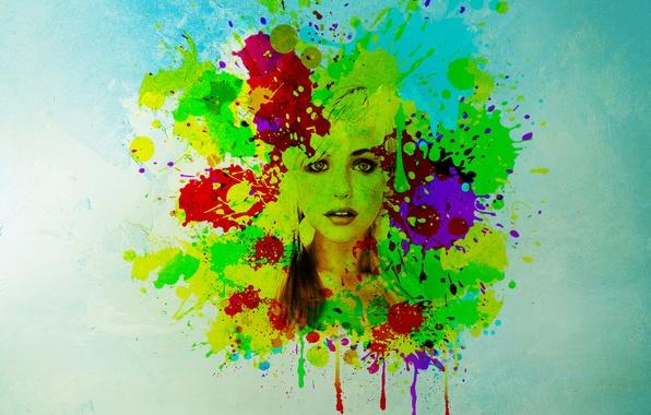 Картинка глаза, взгляд, девушка, лицо, фон, краски, волосы, пятна, губы