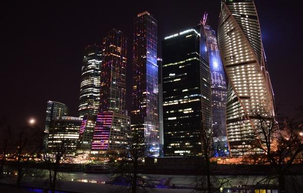 Картинка небо, город, огни, река, дома, вечер, Россия, Russia, небоскрёбы, столица, комплекс, Москва-Сити, международный, Moscow-City, МОСКВА, …