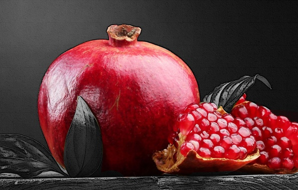 Картинка red, fruit, black and white, Pomegranate