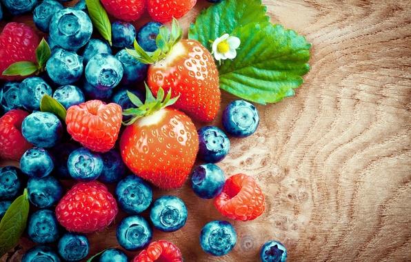 Картинка ягоды, малина, черника, клубника, wood, strawberry, blueberry, raspberry, fresh berries