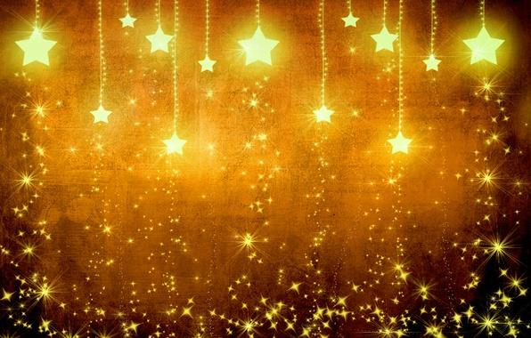 Картинка звезды, свет, желтый, фон, золото, праздник, текстура, коричневый