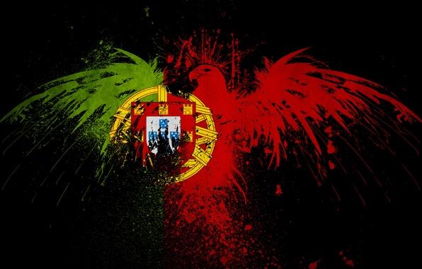 Картинка цвета, птицы, креатив, страны, птица, краска, минимализм, текстура, орёл, флаги, текстуры, орлы, португалия, minimalistic, орлан, …