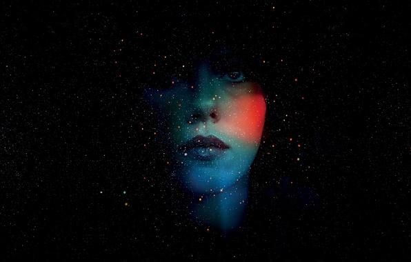 Картинка капли, цвет, портрет, звёзды, Scarlett Johansson, силуэт, россыпь