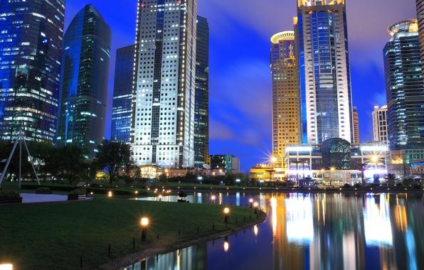 Картинка трава, свет, деревья, city, город, lights, здания, озера, grass, trees, night, lake, ночью, buildings, городских, …