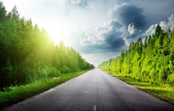 Картинка дорога, лес, небо, трава, асфальт, облака, деревья, тучи, природа