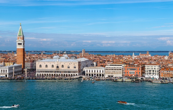 Картинка здания, башня, Италия, панорама, Венеция, канал, катера, набережная, Italy, дворец, Venice, Гранд-канал, Дворец дожей, Piazza …