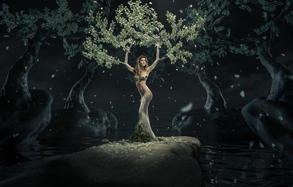 Девка у дерева фото 2 фотография