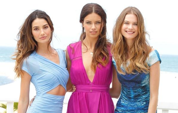 Картинка секси, фон, девушки, Адриана Лима, Adriana Lima, sexy, модели, красотки, платья, Victoria's Secret Angels, Behati …