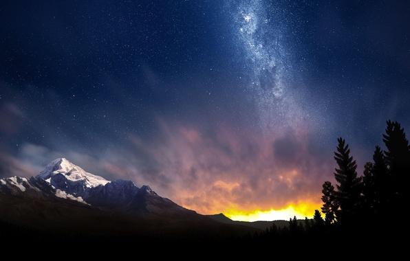 Пейзаж сияние небо звезды ночь лес