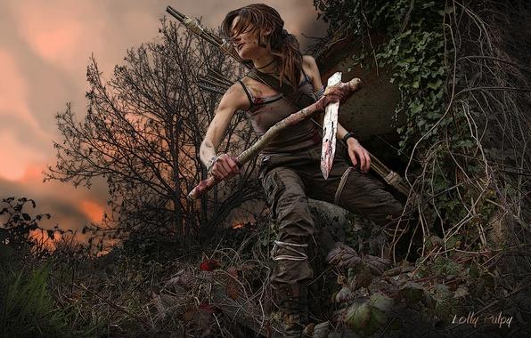 Картинка небо, листья, девушка, деревья, закат, ветки, оружие, волосы, арт, Tomb Raider, лара крофт, Lara Croft