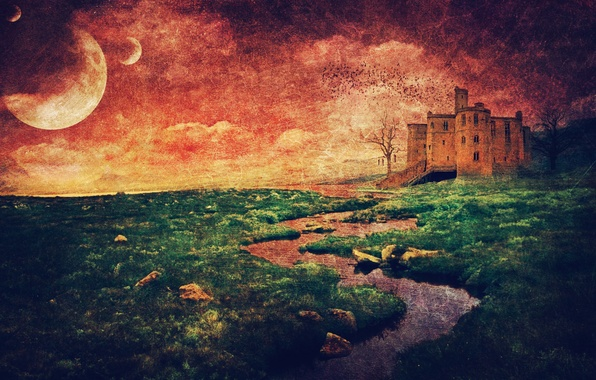 Картинка солнце, пейзаж, стиль, река, дерево, Замок