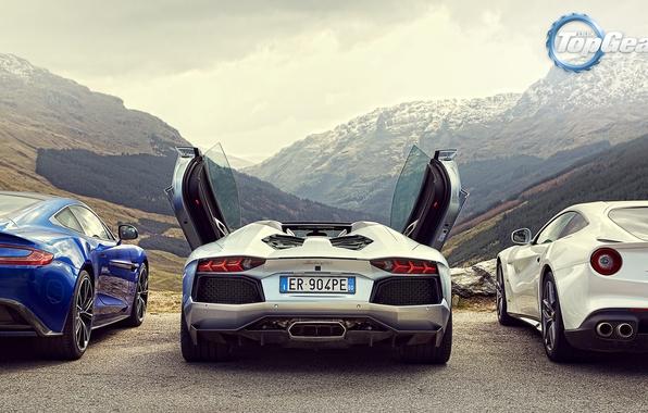 Картинка Roadster, Горы, Lamborghini, Зад, Aston, Martin, Ferrari, Двери, Фары, V12, LP700-4, Aventador, Supercars, Berlinetta, F12, …
