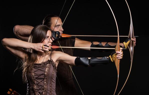 Картинка woman, man, arrows, archery