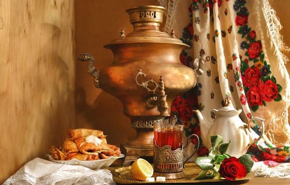 Картинка лимон, чай, роза, чайник, натюрморт, самовар, блины, платок, этно, Масленица