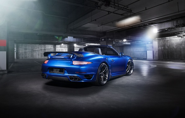 Картинка синий, 911, Porsche, кабриолет, порше, Turbo, Cabriolet, турбо, TechArt