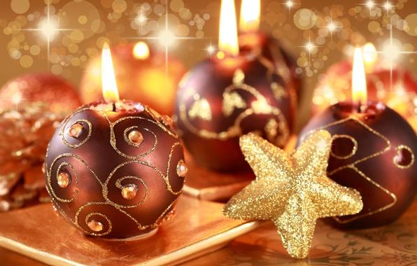 Картинка огонь, праздник, новый год, свечи, свечка, happy new year, новогодние игрушки