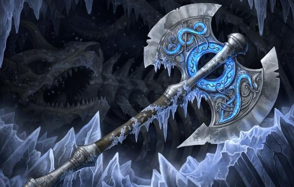 Фото обои оружие, кости, холод, топор, арт, лед, секира, пещера