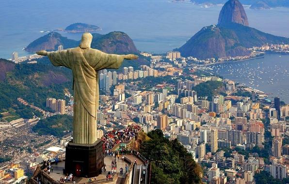 Картинка море, гора, дома, бухта, статуя, Бразилия, Рио-де-Жанейро, Христос