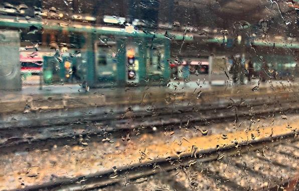 Картинка мокро, стекло, капли, макро, вокзал