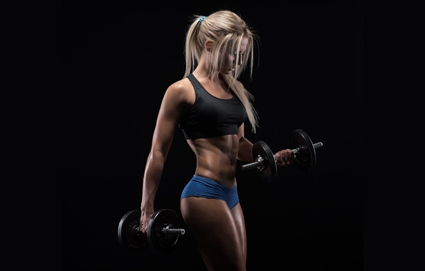 Картинка figure, muscles, blonde, pose, workout, fitness, dumbbells